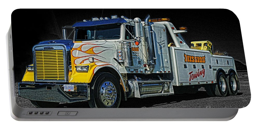 Trucks Portable Battery Charger featuring the photograph Mission Towing Hdrcatr2999-13 by Randy Harris