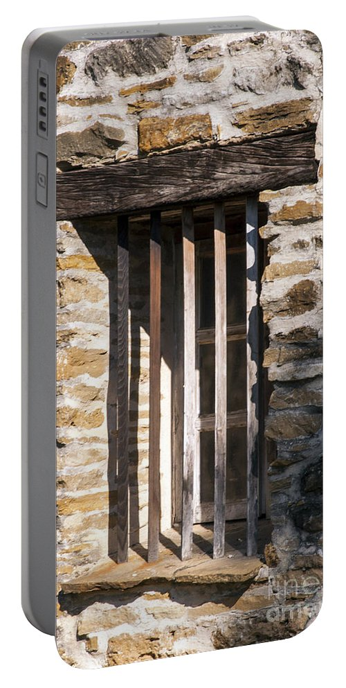 San Antonio Texas Mission Espada Missions Bell Bells Structure Structures Building Buildings Architecture Portable Battery Charger featuring the photograph Mission Window by Bob Phillips