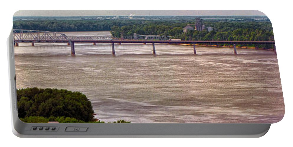 River Portable Battery Charger featuring the photograph Mississippi River At I-72 by C H Apperson
