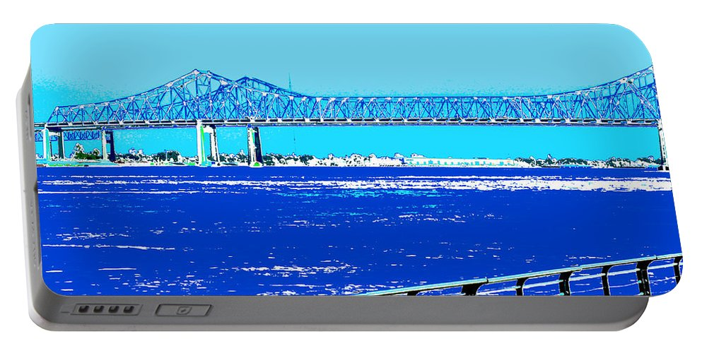 Mississippi River Portable Battery Charger featuring the digital art Mississippi River Bridge Poster by Alys Caviness-Gober