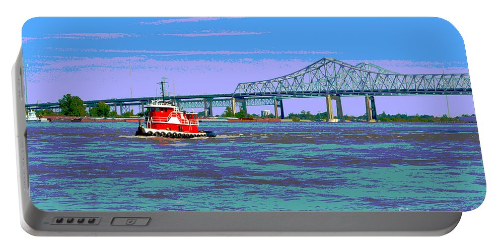 Boat Portable Battery Charger featuring the digital art Mississippi River Scene Poster by Alys Caviness-Gober