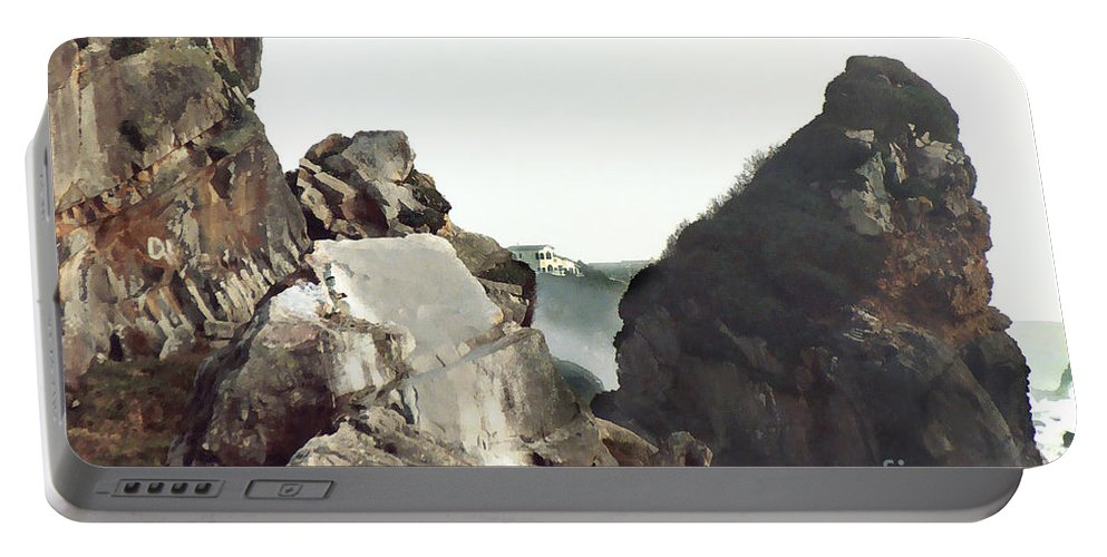 Gold Beach Portable Battery Charger featuring the painting Mist Among The Break by Peter Piatt
