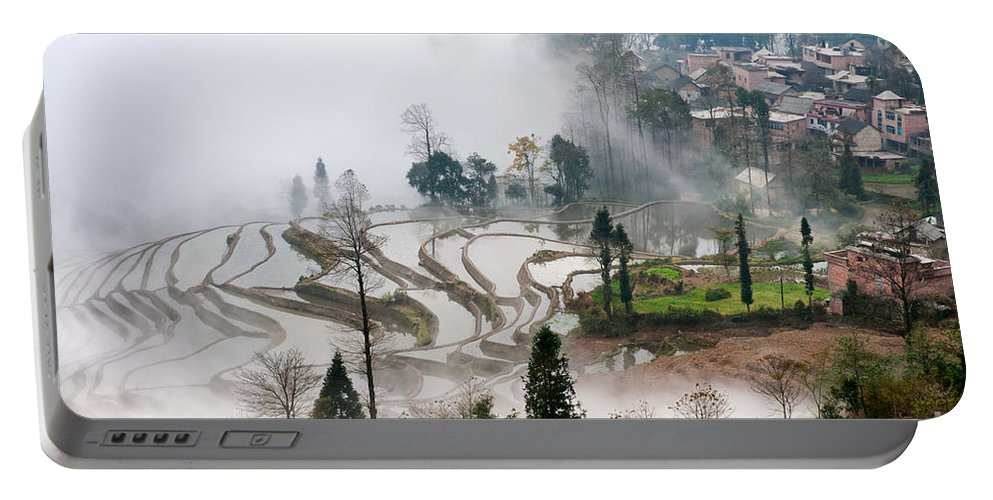 Agriculture Portable Battery Charger featuring the photograph Mist And Village by Kim Pin Tan