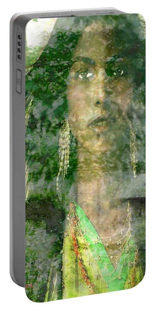American Indian Portable Battery Charger featuring the digital art Mistress Of The Wind by Seth Weaver
