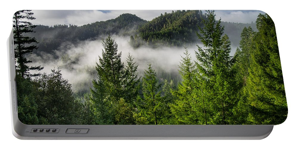 Forest Portable Battery Charger featuring the photograph Mists Among The Hills by Greg Nyquist