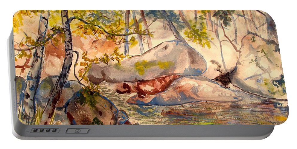 Creek Portable Battery Charger featuring the painting Misty Cascades Day by Kendall Kessler