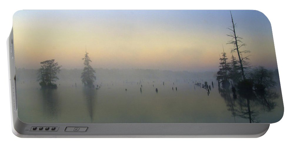 Early Morning Portable Battery Charger featuring the photograph Misty Horizon by Ken Frischkorn