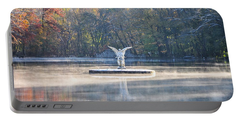 Misty Portable Battery Charger featuring the photograph Misty Lake Angel by Bill Cannon
