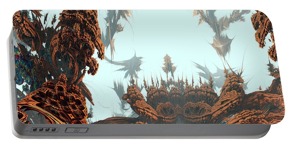 Fractal Portable Battery Charger featuring the digital art Misty Morn On Planet X by Richard Ortolano
