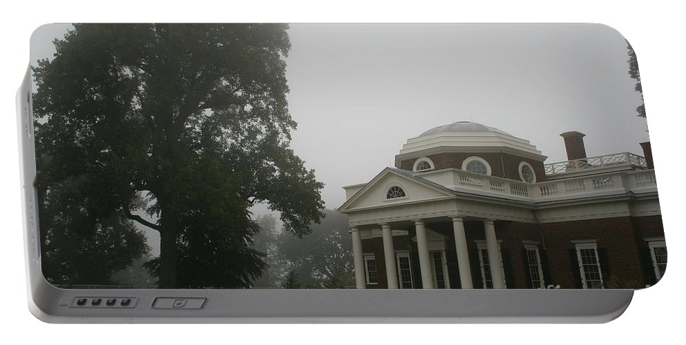 Mist Portable Battery Charger featuring the photograph Misty Morning At Monticello by Christiane Schulze Art And Photography