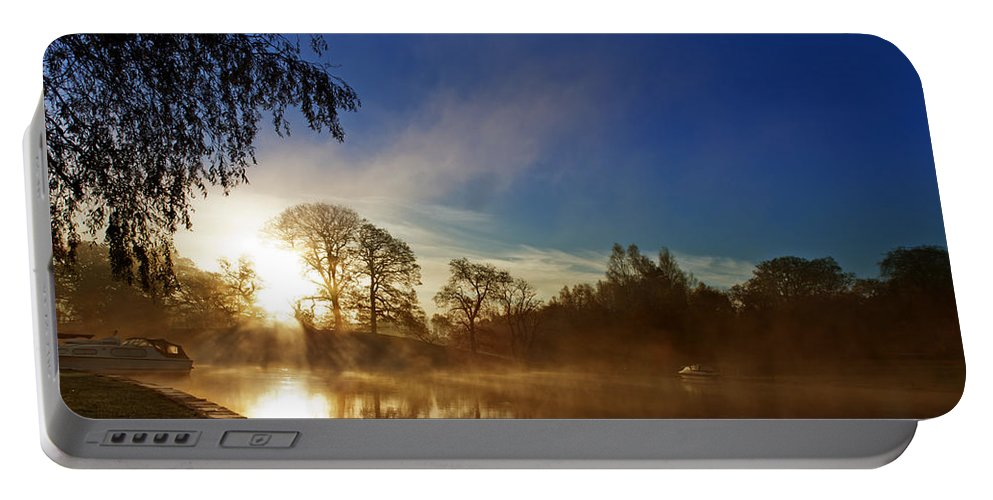 River Portable Battery Charger featuring the photograph Misty Morning by Beverly Cash