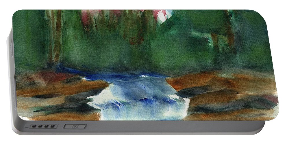 Hudson Valley Art Portable Battery Charger featuring the painting Misty Morning Brook In Hudson Valley by Frank Bright