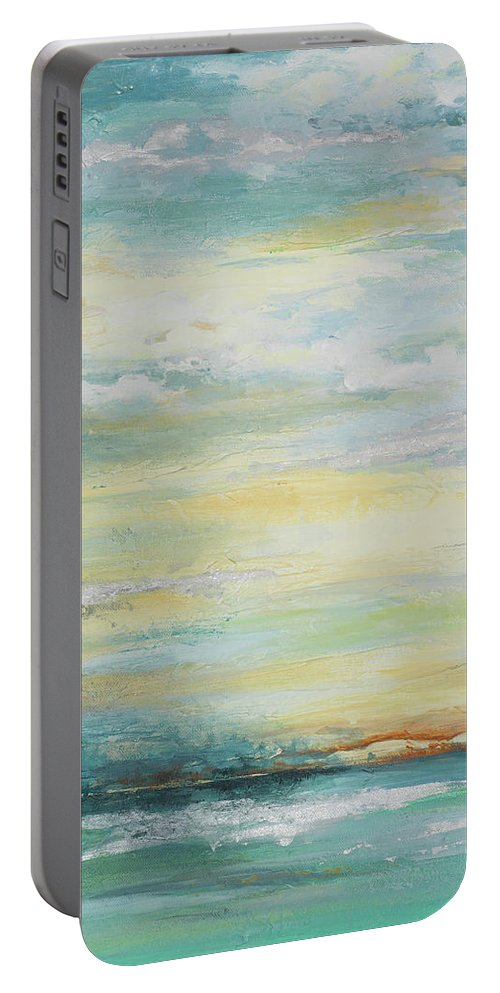 Misty Portable Battery Charger featuring the painting Misty Morning by Patricia Pinto