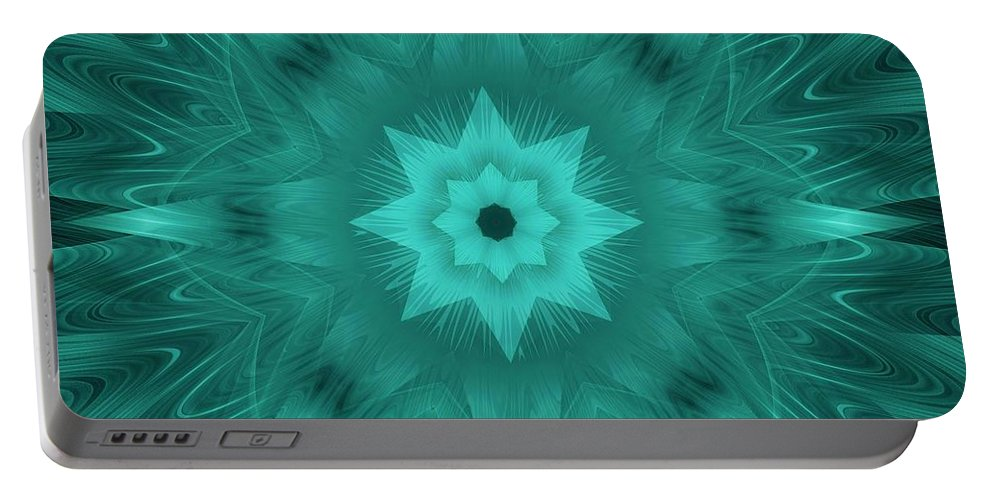 Star Portable Battery Charger featuring the digital art Misty Morning Star Bloom by Elizabeth McTaggart