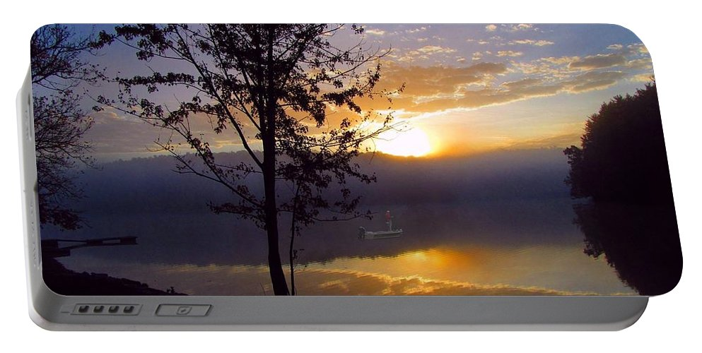 Fishing Portable Battery Charger featuring the photograph Misty Reflections by David Dehner