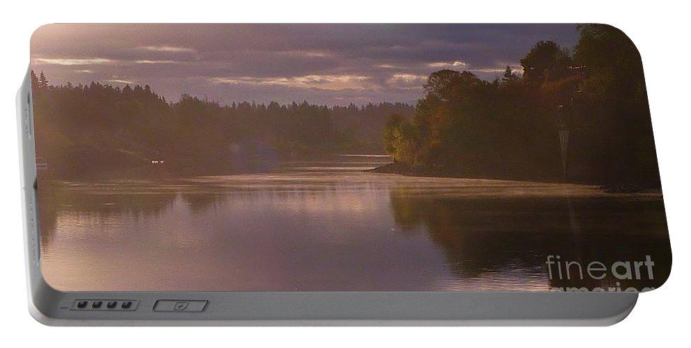 Misty River Reflection Portable Battery Charger featuring the photograph Misty River Reflection by Susan Garren