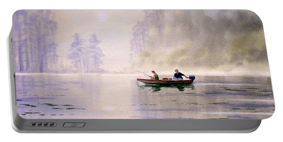 Banks Lake Portable Battery Charger featuring the painting Misty Sunrise On The Lake by Bill Holkham