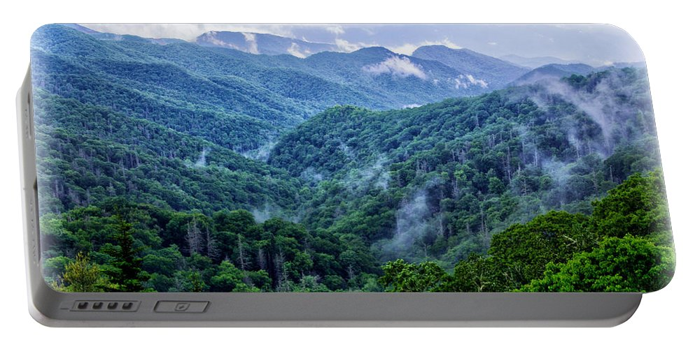 Misty Valley Portable Battery Charger featuring the photograph Misty Valley by Carolyn Derstine