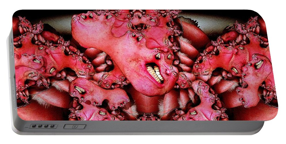 Fractal Portable Battery Charger featuring the digital art Mitotic Grimace by Ron Bissett