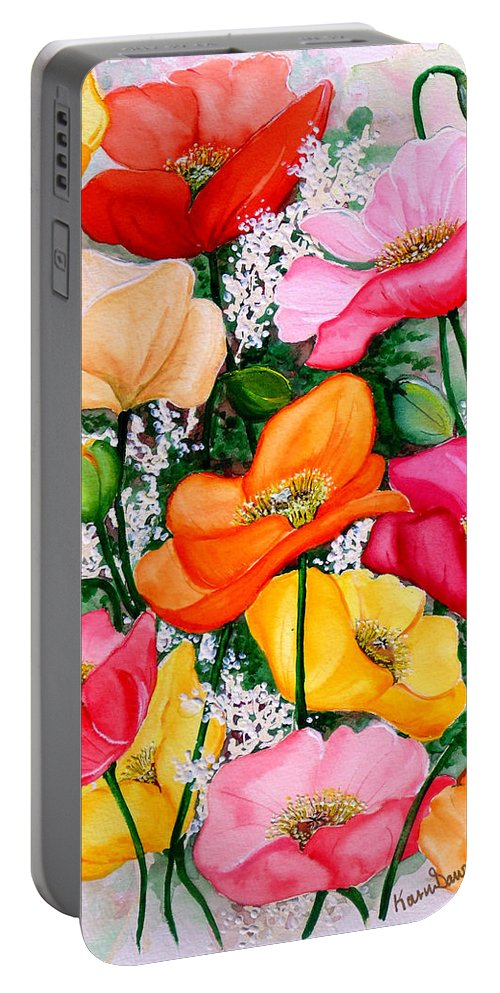 Poppies Portable Battery Charger featuring the painting Mixed Poppies by Karin Dawn Kelshall- Best