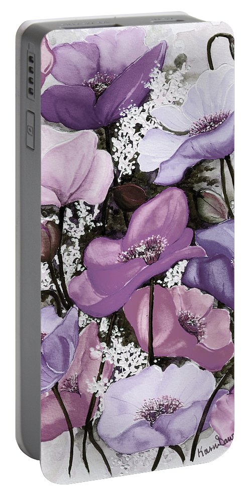 Purple Portable Battery Charger featuring the painting Mixed Poppies Purple by Karin Dawn Kelshall- Best