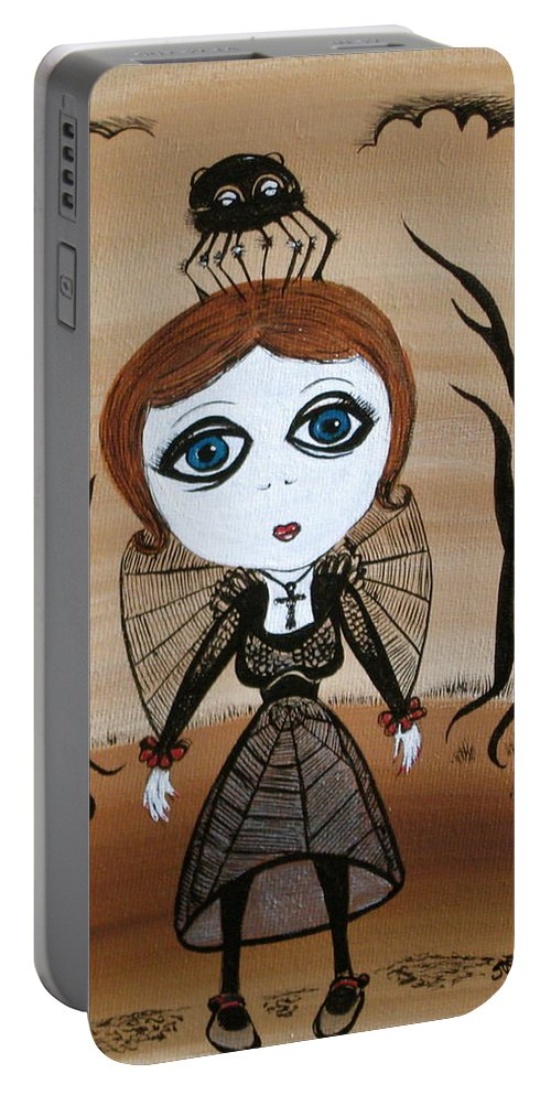 Gothic Portable Battery Charger featuring the painting Miz Goth by Sue Wright