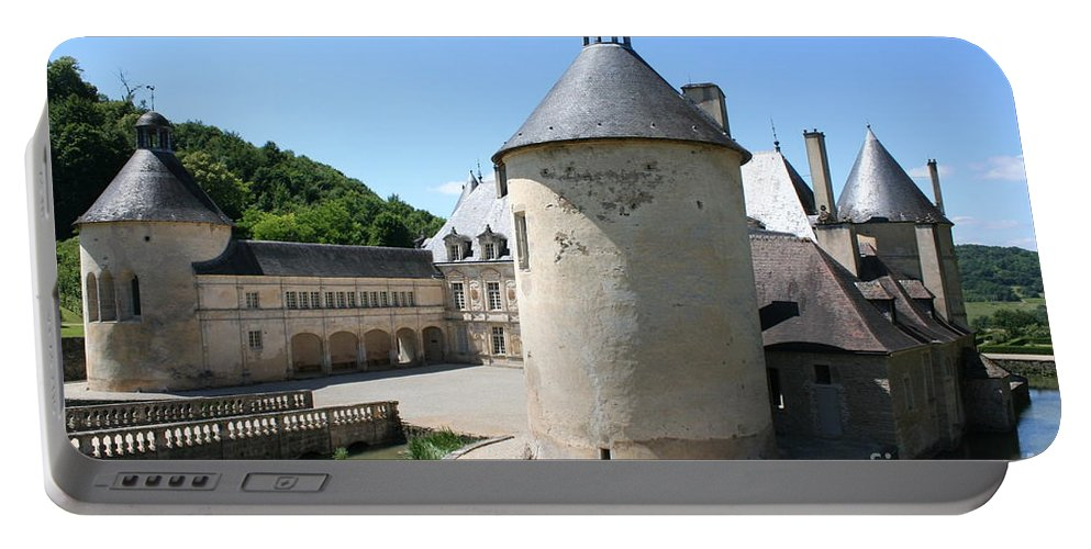 Moat Portable Battery Charger featuring the photograph Moated Castle - Bussy Rabutin - Burgundy by Christiane Schulze Art And Photography