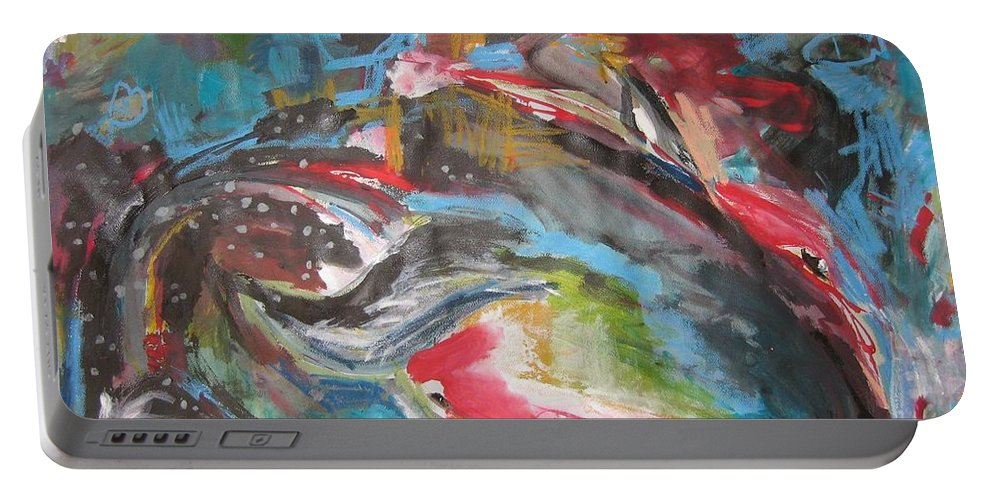 Whale Paintings Portable Battery Charger featuring the painting Mobie Joe The Whale-original Abstract Whale Painting Acrylic Blue Red Green by Seon-Jeong Kim