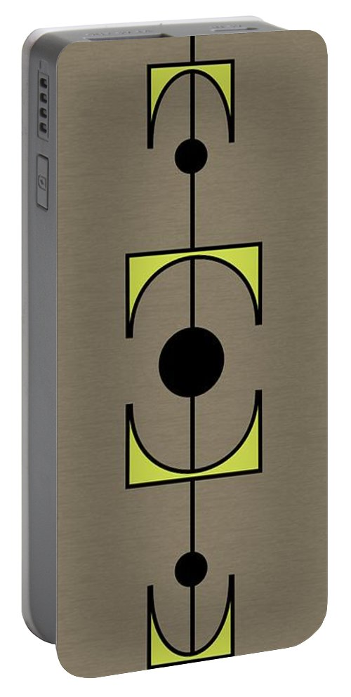 Mid Century Portable Battery Charger featuring the digital art Mobile 1 In Green by Donna Mibus