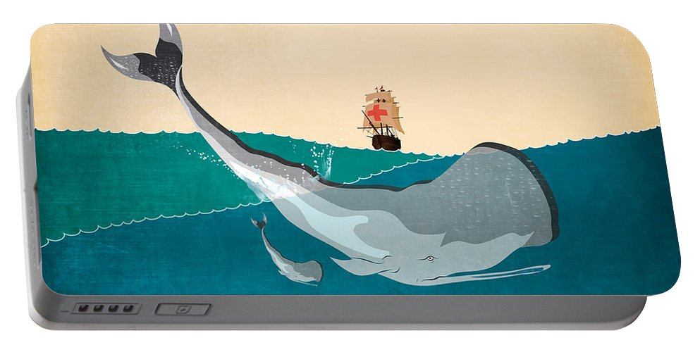 Moby Dick Portable Battery Charger featuring the digital art Moby by Mark Ashkenazi