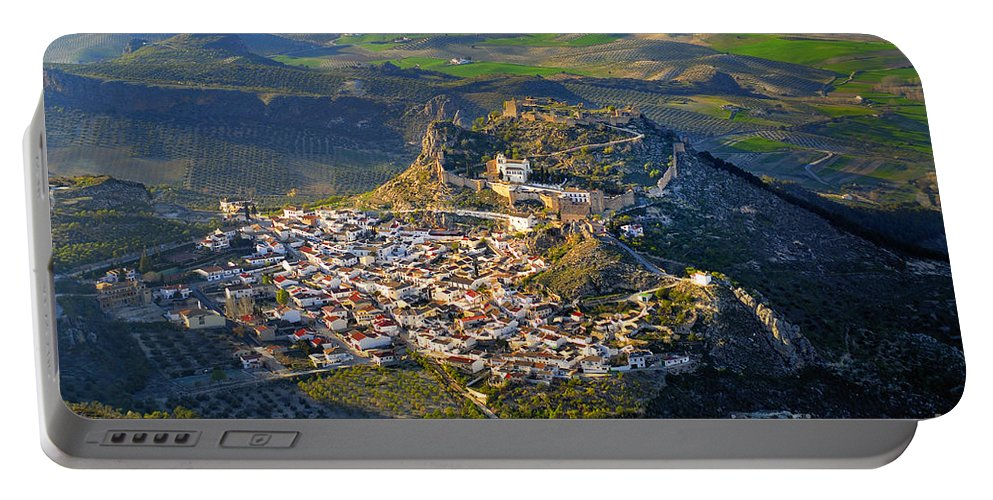 Architecture Portable Battery Charger featuring the photograph Moclin Castle From The Air by Guido Montanes Castillo