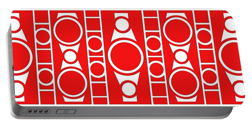 Red & White Portable Battery Charger featuring the digital art Modern Design II by Mike McGlothlen