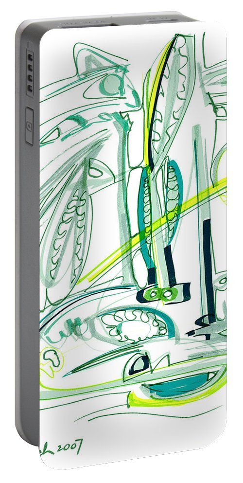 Modern Drawing Portable Battery Charger featuring the drawing Modern Drawing Sixty-four by Lynne Taetzsch