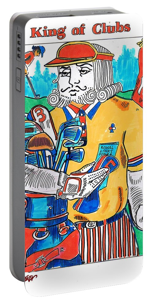 Modern King O'clubs Portable Battery Charger featuring the drawing Modern King O' Clubs by Seth Weaver