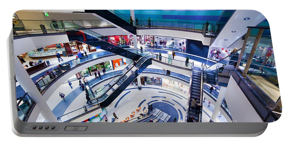 Mall Portable Battery Charger featuring the photograph Modern Shopping Mall Interior by Michal Bednarek