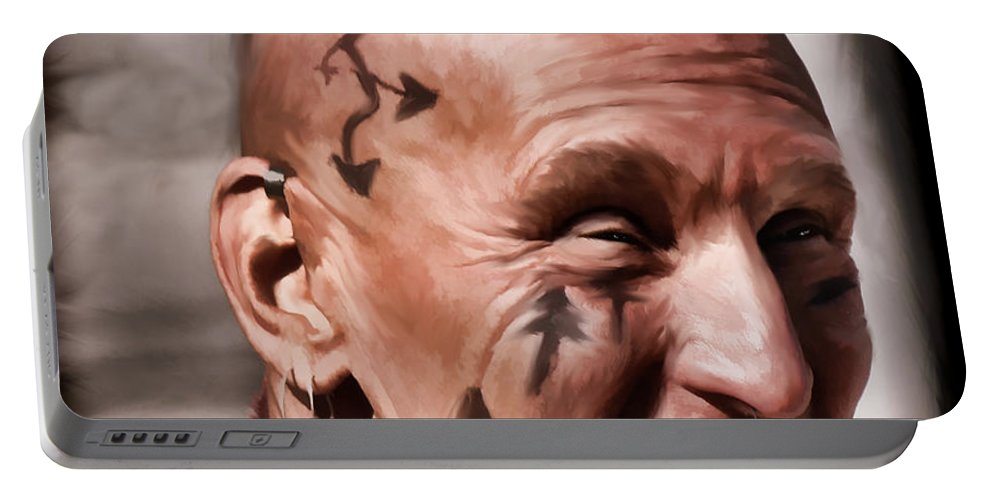 Mohican Portable Battery Charger featuring the digital art Mohican by Pennie McCracken
