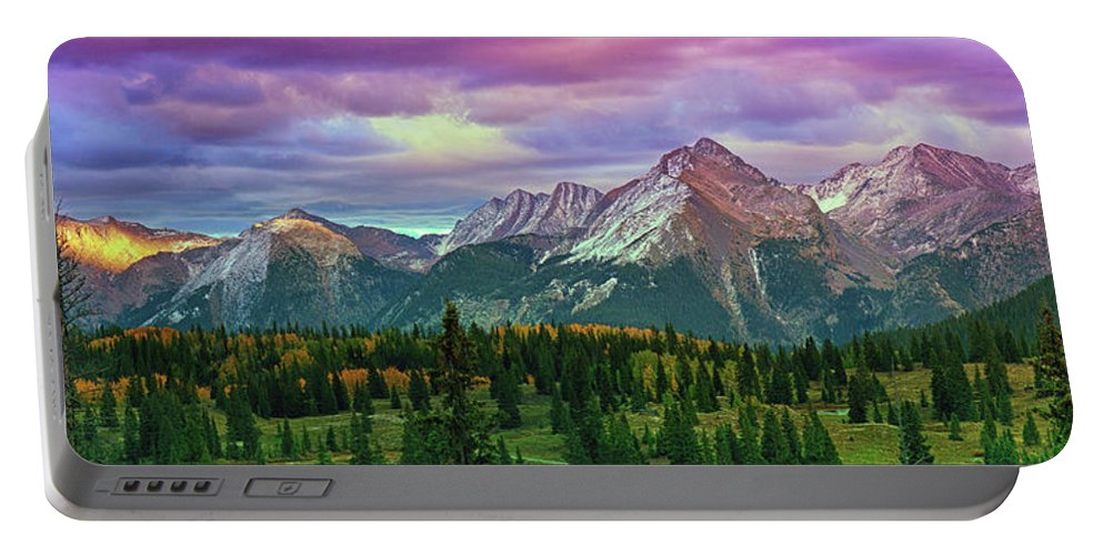 Mountains Portable Battery Charger featuring the photograph Molas Pass Sunset Panorama by Brian Kerls