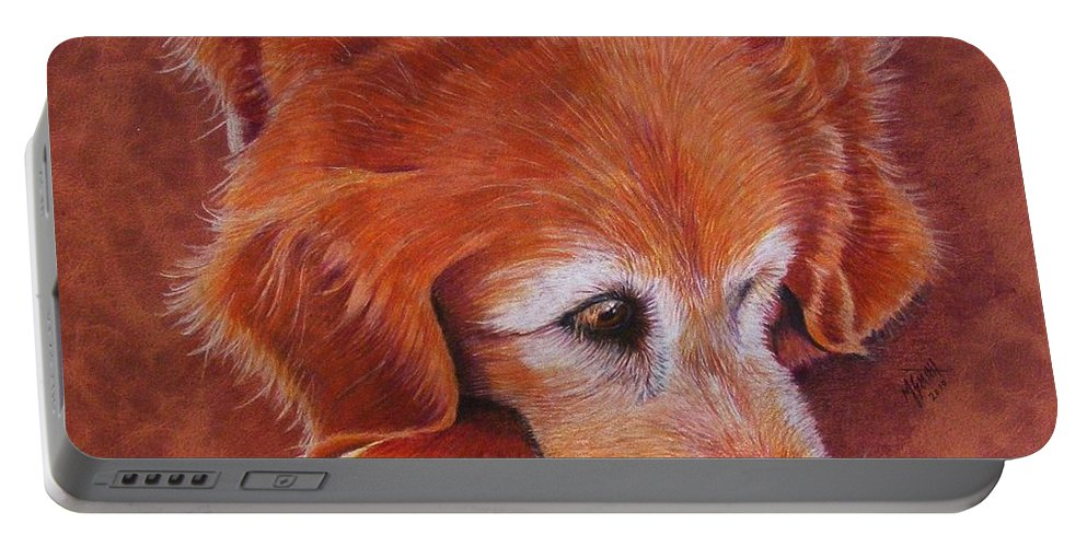 Golden Retriever Portable Battery Charger featuring the drawing Mollie by Marilyn Smith
