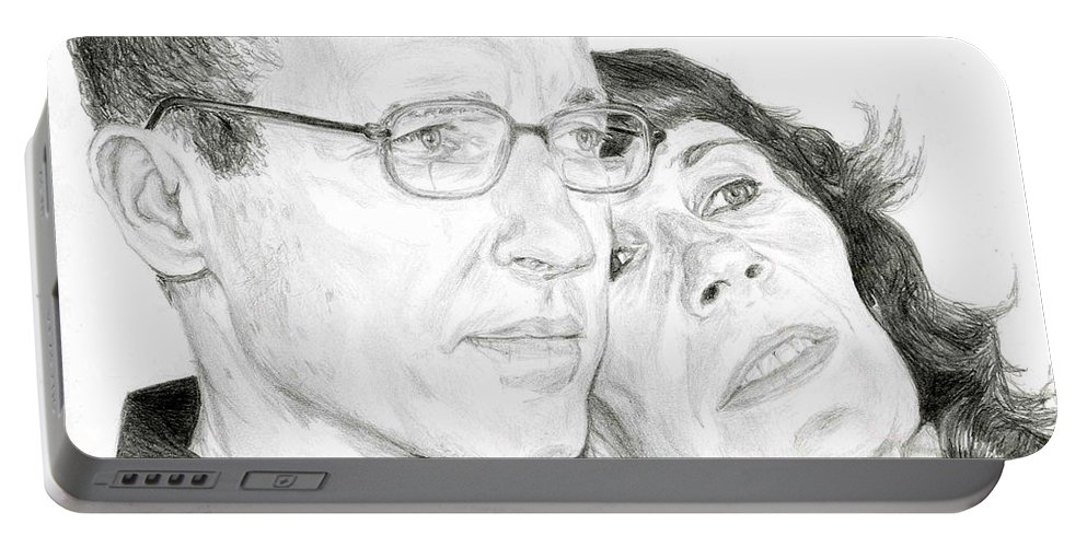 Mom Portable Battery Charger featuring the drawing Mom And Dad by Tamir Barkan
