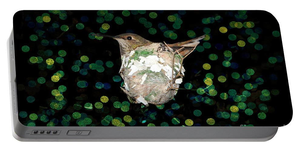 Mommy Hummingbird In The Nest Portable Battery Charger featuring the photograph Mommy Hummingbird In The Nest by Mariola Bitner
