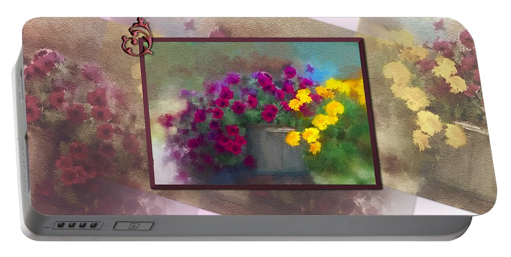 Mom Portable Battery Charger featuring the digital art Moms Garden Art by Susan Kinney