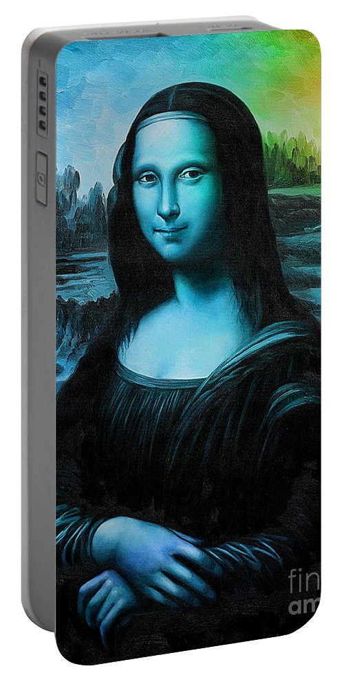 Mona Paintings Portable Battery Charger featuring the mixed media Mona Lisa by Marvin Blaine