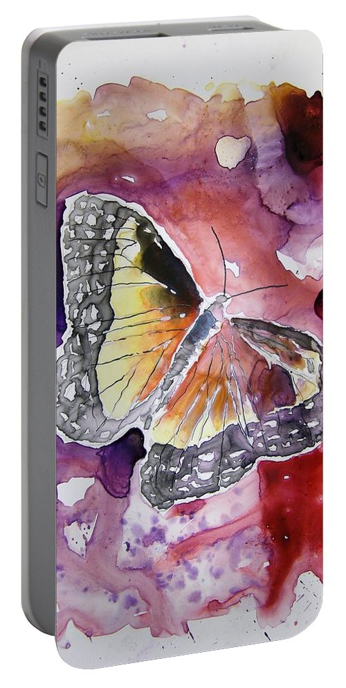 Monarch Portable Battery Charger featuring the painting Monarch Butterfly by Derek Mccrea