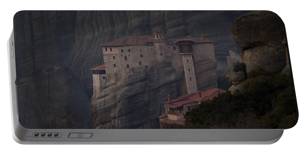 Monastary Portable Battery Charger featuring the photograph Monastary At Meteora Greece  #9635 by J L Woody Wooden
