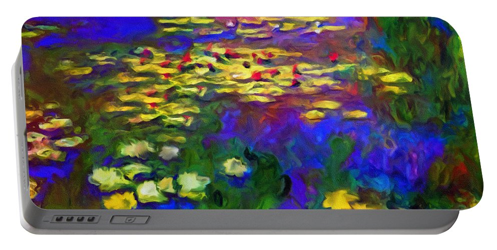 Abstract Portable Battery Charger featuring the mixed media Monet Would Be Horrified by Georgiana Romanovna