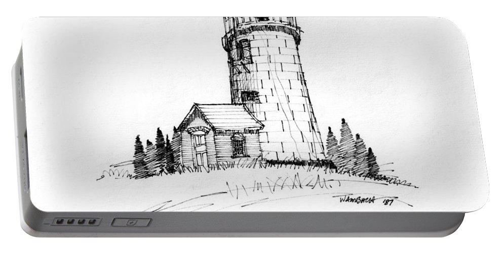 Monhegan Island Portable Battery Charger featuring the drawing Monhegan Lighthouse 1987 by Richard Wambach