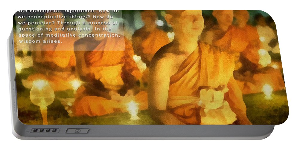 Photo Art Portable Battery Charger featuring the painting Monks In Meditation by Mario Carini