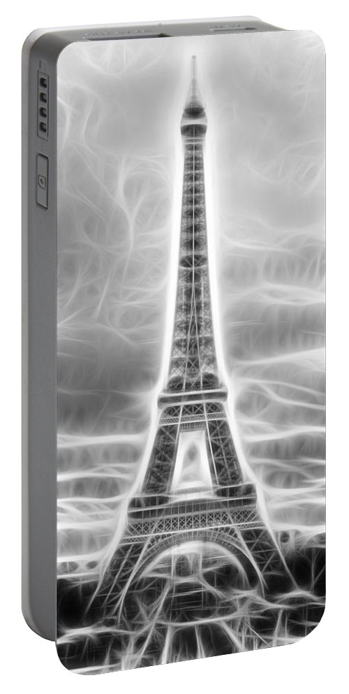 Fractal Portable Battery Charger featuring the photograph Monochrome Eiffel Tower Fractal by Pati Photography