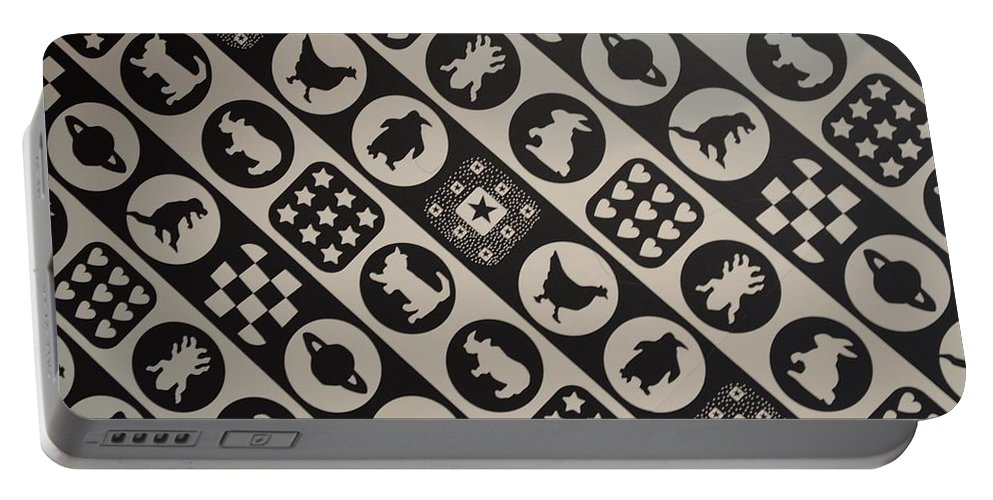 Animal Art Portable Battery Charger featuring the photograph Monochrome Mosaic by Sonali Gangane