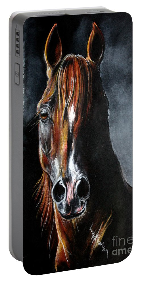 Stallion Portable Battery Charger featuring the drawing Monogramm by Angel Ciesniarska